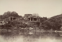 Hooblee. Ruined temple and tank. [Ruined Jain temples at the tank, Huli, Belgaum District.]